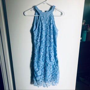 Blue Lace Halter Bodycon Dress